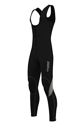 Zimco Men Winter Cycling Thermal Insulated Bib Tights Non Padded Bib Pants Windproof Bike Leggings (Medium) Black