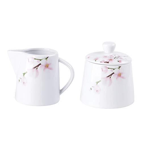 VEWEET, Serie \'Annie\' 2-teilig Porzellan Milchkanne und Zuckerdose Set, 180 ml Milchkgießer und 250 ml Zuckerbehälter, Ideal für Kaffeeservice und Küche | Ergänzung zum Tafelservice \'Annie\'