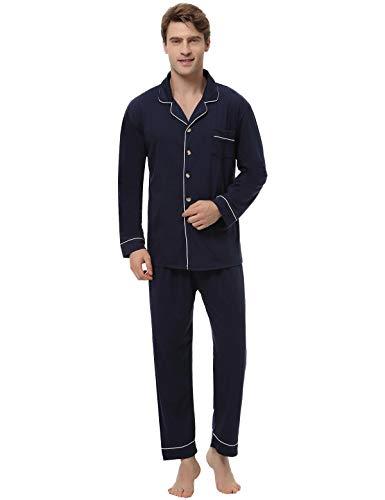 Abollria Pijamas Hombre 2 Piezas,Camiseta y Pantalones Algodón Cómodo Ropa de Dormir Set