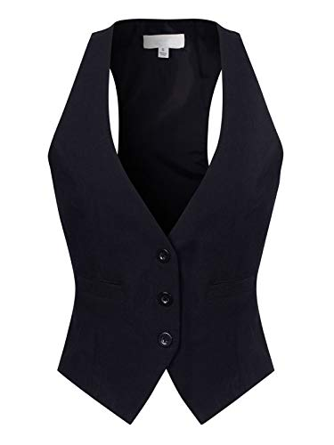 Design by Olivia Women's Dressy Casual Versatile Racerback Vest Three Button Tuxedo Suit Waistcoat Black L