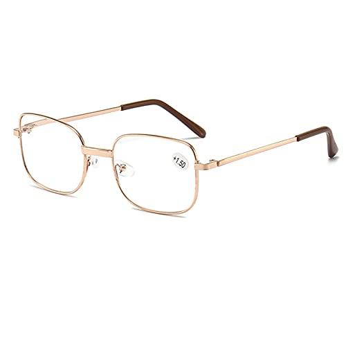 Gafas de Lectura HD con Resorte,Gafas de Montura Completa de Metal,Unisex,Lentes a Prueba de Explosiones,Gafas de Computadora,Reducen la Fatiga Ocular,Oro,Plata, 1.50
