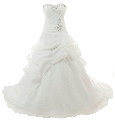 Vantexi Élégant Chérie Organza Robes de mariée Robe de Mariage Perlage Robe de Nuptiale Femmes Longue Ivoire Taille 50