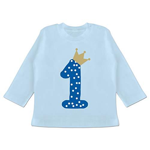 Baby Geburtstag Geburtstagsgeschenk - 1. Geburtstag Krone Junge Erster - 12/18 Monate - Babyblau - Baby Shirt Boy 1 Jahr Langarm - BZ11 - Baby T-Shirt Langarm