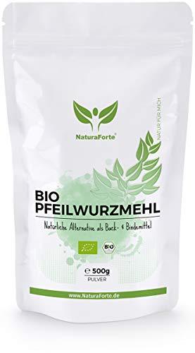 NaturaForte Bio Pfeilwurzelmehl 500g - Starkes Bindemittel und Eiersatz Vegan, Pfeilwurzmehl perfekt zum Backen und Binden, Geschmacksneutral, Arrowroot Powder, Abgefüllt & kontrolliert in Deutschland