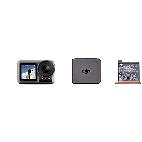 DJI Osmo Action Cam Digitale Actionkamera mit 2 Bildschirmen 11m wasserdicht 4K HDR-Video & Osmo Action Part 1 - Akku für DJI Osmo Action Kamera, maximale Kapazität 1300 mAh