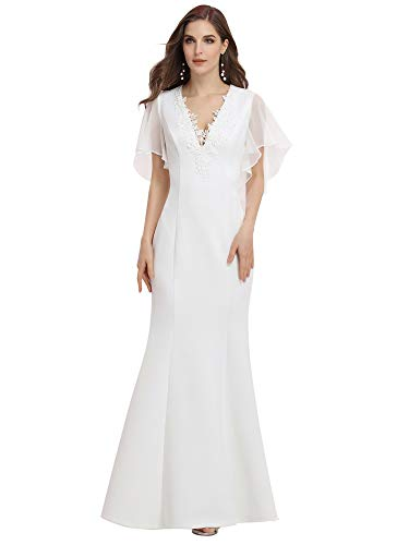 Ever-Pretty Women's V Neck Ruffle Short Sleeves Mermaid Simple Wedding Dress with Applique White 12UK