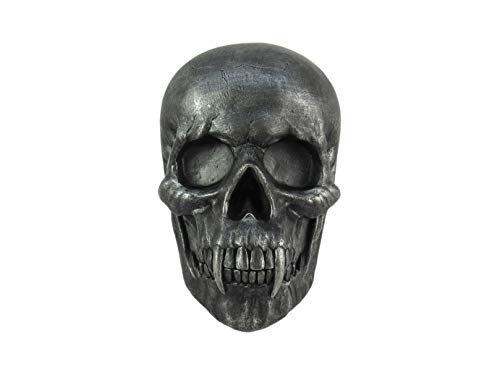 DWK Vampire Skull Wall Mounted Pewter Sculpture | Gothic Halloween Decorations and Gothic Party Decor | Wall Art Skull Accent Vampire Decorations - 9'
