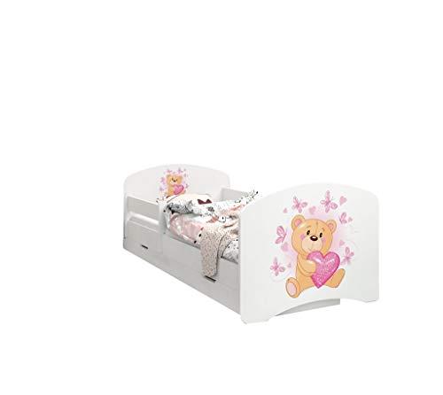 Happy Babies - Doppelseitiges KINDERBETT MIT SCHUBLADE Modernes Design mit sicheren Kanten und Absturzsicherung Schaumstoffmatratze 7 cm. (160x80, 07. Teddybär in der Liebe)