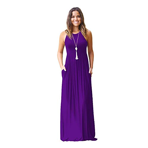 2020 European and American Women's Long Dress Spring and Summer Women's Leisure Vest Pocket Dress...