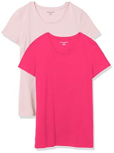 Amazon Essentials Damen-T-Shirt, klassisch, kurzärmlig, Rundhalsausschnitt, 2er-Pack, Pink/Hellrosa, Large