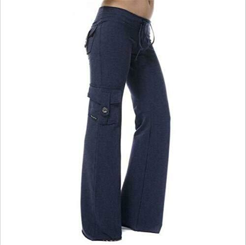 EU Elástica Suave Respetuoso del Medio Ambiente Pantalones de la Yoga de bambú de Bolsillo Pantalones de chándal de Pierna Ancha Pantalones Acampanados con múltiples Bolsillos