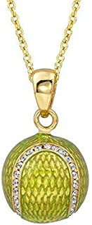 """Enamel Tennis Ball with prong set CZ`s Pendant on a 16"""" 18Kt gold plated Sterling Chain"""