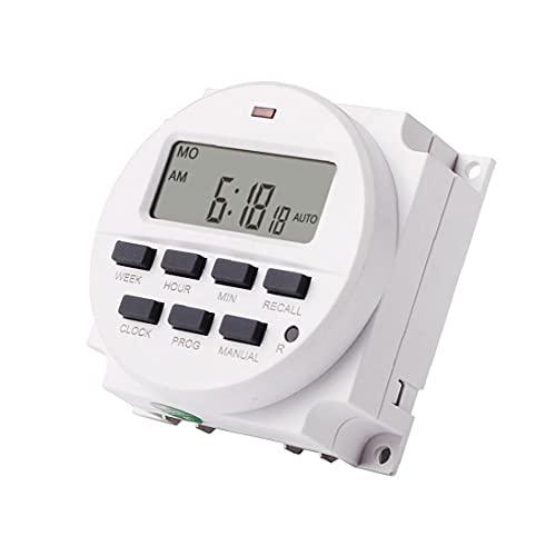 Temporizador Interruptor programable Temporizador TM618N-2 LCD Power Smart Timer Switch Relay White