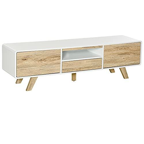 HOMCOM TV Schrank TV Lowboard Kommode für Fernseher Kleiner als 60'' mit Push-In-Design Schublade Wohnzimmer MDF Weiß+Natur 160 x 40 x 45 cm