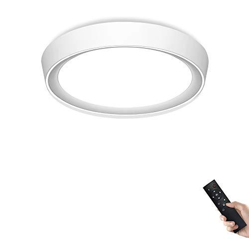 Dimmbare Deckenleuchte mitFernbedienung 24W Ø40CM Dimmbar 2700-6500K weiße Abdeckung mit weißer Ring fürWohnzimmer,Schlafzimmer,KücheundEsszimmer JDONG