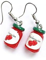 Kvinnor 3D Fruit Jam Jam flaska örhängen Bottle Örhängen roliga Simulerad Bottle Ear Hook Ladies Piercing Eardrop
