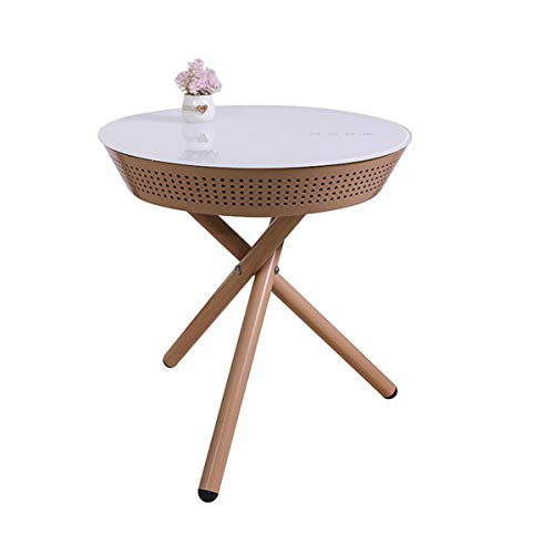 QNMM Portable Smart Side Table with Bluetooth Speaker, Modern Home USB Charging Living Room Round Small Side Table, Tripod Bedside Table