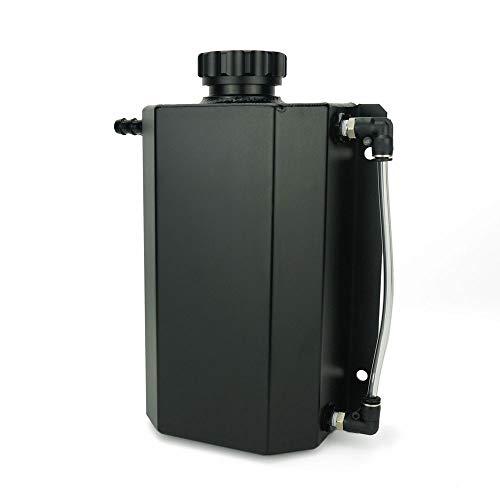 Soosee JDM Universal 2L Coolant Radiator Overflow Recovery Water Tank Reservoir Bottle Polished Aluminum (Black)