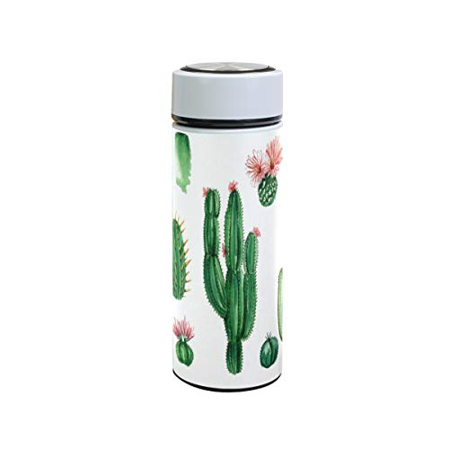 XiangHeFu Houdt koude of warme kunstplant vetplant cacteen 12 oz sportreisbeker waterfles lekvrije theethermosfles