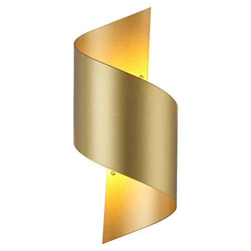 OSALADI Apliques de Pared Modernos Lámparas de Hierro Forjado Lámpara de Pared Iluminación Del Pasillo de Noche para Dormitorio Sala de Estar sin Batería (Dorado)