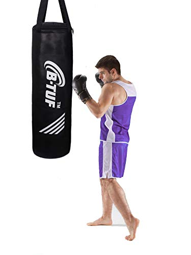 B-TUF UNFILLED Heavy Premium SRF Punching Bag MMA Sparring Training Kick Boxing Muay Thai Martial Arts Unisex Without Chain BT-325 (Black/Silver, 2 Feet)
