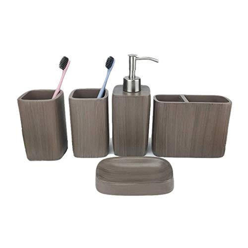 Soap bottles Bathroom Accessories Set, 5 Pieces Bath Ensemble, Bath Set Collection Marble Pattern Imitation Wood Grain Soap Dispenser Pump, Toothbrush Holder, Tumbler, Soap Dish lotion dispensers