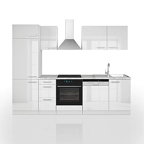 Cucina Vicco Optima Cucina componibile Blocco Cucina Cucina su Misura 270 cm bianco lucido