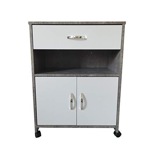 HTI-Line Küchenschrank Blanca Küchenschrank Anrichte Mehrzweckschrank Beistellschrank Küchenmöbel Küchenrollwagen Beton Weiß