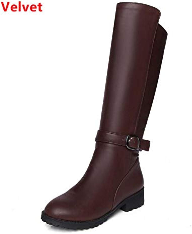 HAOLIEQUAN Größe Größe Größe 33-43 Frauen Knie Stiefel Zipper High Heel Stiefel Warme Schuhe Frauen Dicke Fersen Stiefel Ritter Lange Frauen Sch  60c95a