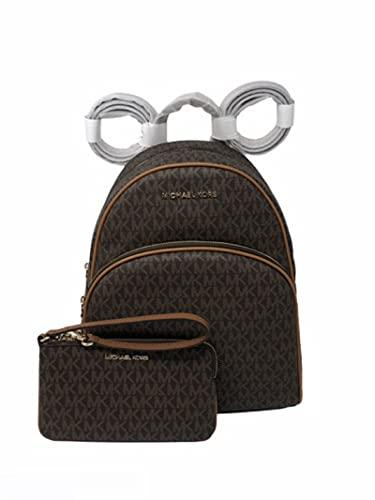 MICHAEL KORS Abbey Medium Logo Backpack Bundled With Matching Wristlet Wallet (Brown Signature)