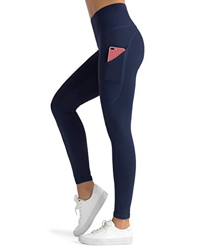 Dragon Fit High Waist Yoga Leggings with 3 Pockets(2 Side and 1 Inner),Tummy Control Workout Running 4 Way Stretch Yoga Pants (Large, Navy)