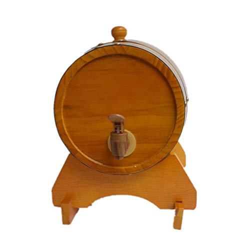 Toneles de Vino Barril de Roble Barril de Madera Barril de Whisky de 15 Litros, Barril de Decoración para el Hogar con Soporte para La Elaboración de Vino y Almacenamiento de Licores de Cerveza Whisky