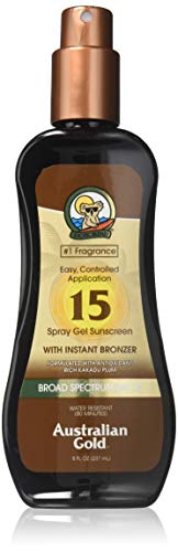 Australian Gold Spray Gel Sunscreen with Instant Bronzer SPF 15 8 oz