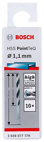 Bosch Professional 10 brocas helicoidales HSS PointTeQ, para metal, 1.1 x 14 x 36 mm, accesorio de taladro
