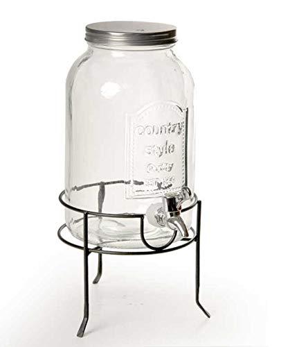 Dispensador tarro de cristal con grifo y soporte de metal 3,7 litros