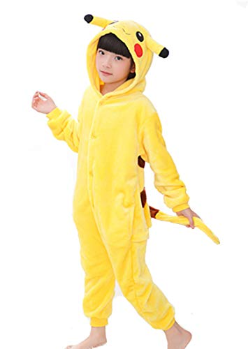 King Ma Kids Fleece Flannel One-Piece Pajamas Children's Unisex Cosplay Costume Halloween Hooded Jumpsuit (Pikachu, 130)