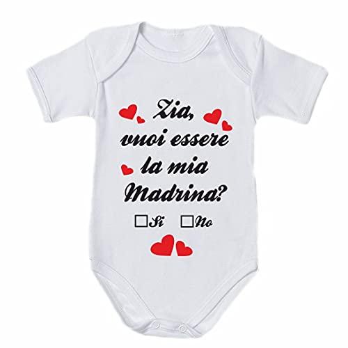 NEW LUPETTO Body tutina bambino bambina zia vuoi essere la mia madrina - Bianco, 03 MESI