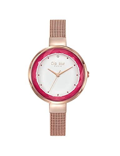 Reloj Clio Blue de malla Milanesa para mujer, color rosa dorado