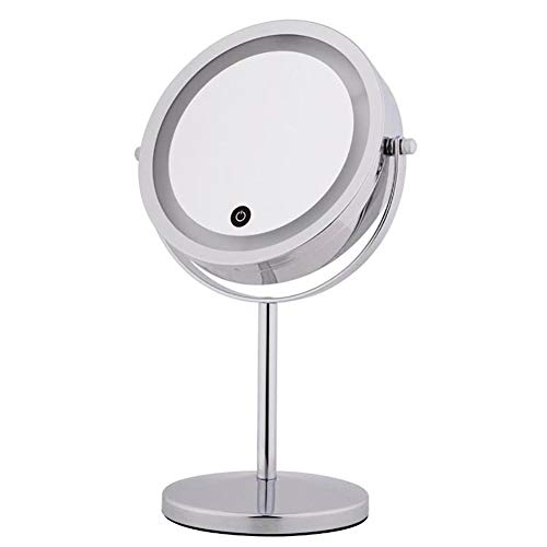 Miroir de maquillage avec lumières, commutateur à écran tactile, chrome double face, grossissement 1X / 10X, utilisation pour un maquillage précis (Co