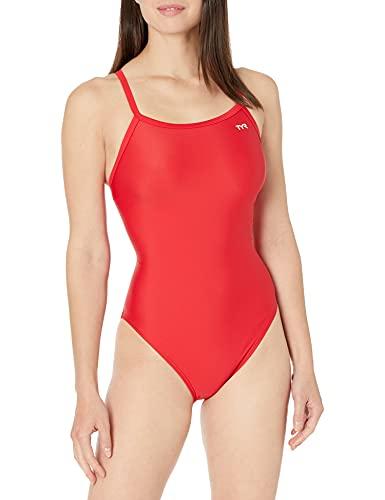 TYR Sport Girls' Solid Diamondback Swim Suit,Red,42