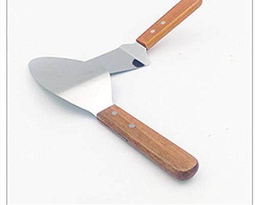Roestvrijstalen houten handvat kookschep Teppanyaki gebakken ijs steak steakschop Pizza sautéschop Handgreep cake tool Drukschop-Taartschep Groot Breedte 7.8 Lengte 28.0cm