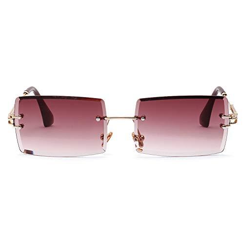 Fuyamp Quadratische Sonnenbrille, Sommer-Stil, weibliche Sonnenbrille für Damen, Retro, klein, rechteckig, randlos (TYPE1)