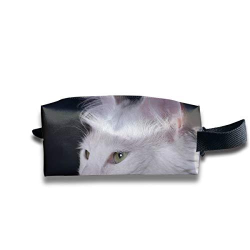Bolsa de aseo para hombres Gato pequeño Angora Gatito Mascota de pura sangre blanca Encantadora bolsa de maquillaje para mujeres Cremallera cuadrada Bolsa de cosméticos Gran capacidad con crem