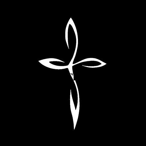 BBTY 7.9cm * 12.7cm Cross Vinyl Decal Etiqueta engomada del Coche Crucifijo Cristiano Beato Jesús Faith Black/Silver C3-1393 (Color Name : Silver)