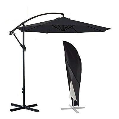 ConPus Umbrella Cover, Patio Cantilever Offset Umbrella Cover for 9ft to 13ft Cantilever Parasol Outdoor Market Umbrellas Cover with Zipper and Water Resistant Protector Black