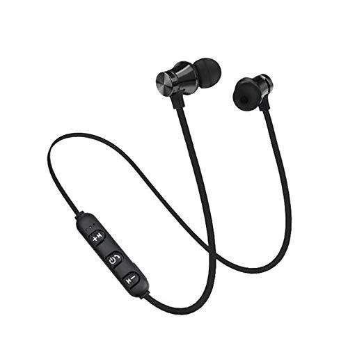 Kopfhörer Ohrhörer Headset Bluetooth 4.2 Stereo-Kopfhörer-Headset Drahtloser magnetischer In Ear Ohrhörer (Schwarz)
