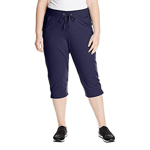 Hhwei Mujer Pantalones Cortos Yoga Talla Extra Cordón Pantalón Cropped Pantalones Deportivo con Bolsillos