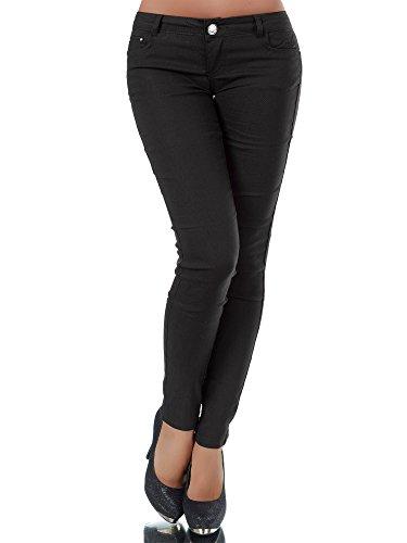 Diva-Jeans L957 Damen Hose Treggings Leggings Stoffhose Freitzeithose Röhrenhose Leggins, Farben:Schwarz, Größen:38 (M)