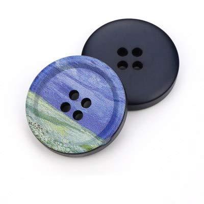 5 uds Botones Redondos de Resina con 4 Agujeros Estampado de Paisaje 21mm-34mm Accesorios de Costura para Ropa Botones Decorativos Hechos a Mano DIY