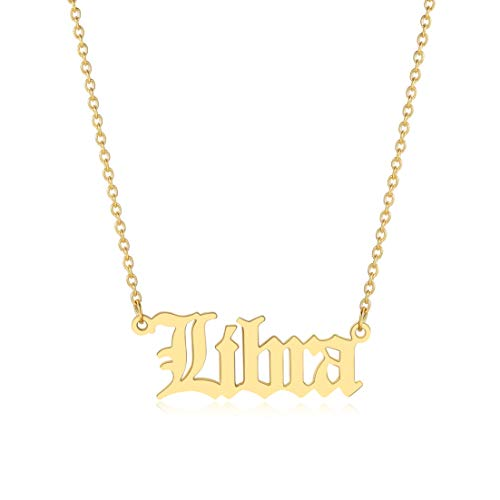 Libra Necklace for Women Zodiac Necklace Gold Old English Letter...